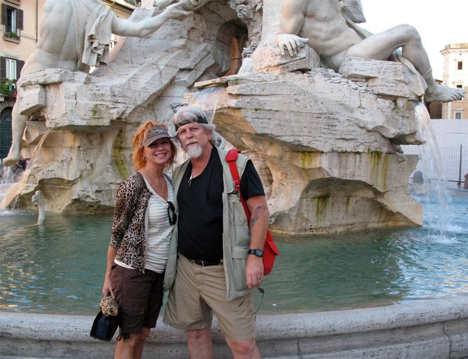 John and Cynthia, in Rome, at the Bernini Fountain, 2009.